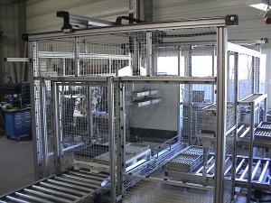 This X-Y- Z Gantry System uses Robotunits Industrial Linear Motion Systems which integrate perfectly with the rest of the Robotunits Modular Automation System